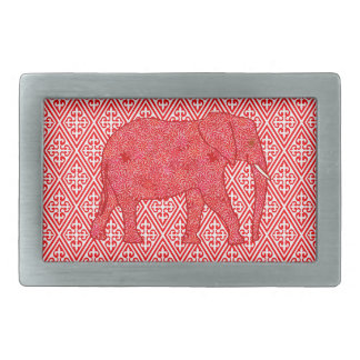 Flower elephant - deep red and coral rectangular belt buckle