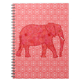 Flower elephant - deep red and coral spiral notebook