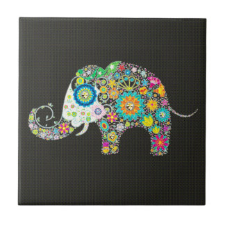Flower Elephant - Diamond Studs Ceramic Tile
