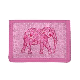 Flower elephant - fuchsia pink tri-fold wallets