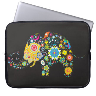 Flower Elephant Girly Retro Floral Fashion Laptop Computer Sleeves