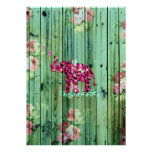 Flower Elephant Pink Sakura Green Striped Wood Print