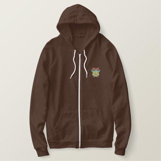 Flower embroidered ladies zip up hoodie jacket