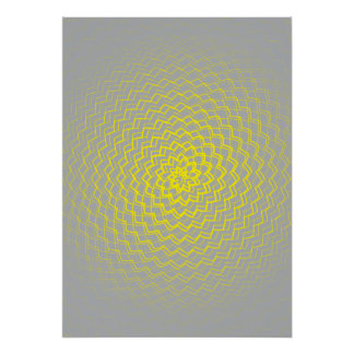 Flower Energy Pattern yellow grey Poster