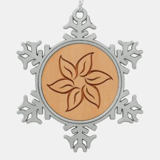 Flower engraved on wood design snowflake pewter christmas ornament