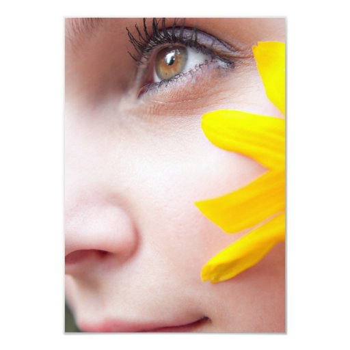 Flower Face Woman 3.5x5 Paper Invitation Card