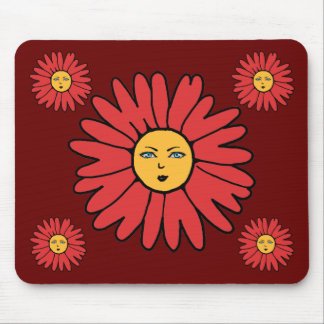 Flower Faces red Mouse Pad