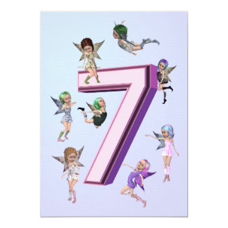"Flower fairies 7th Birthday Party invitation 5"" X 7"" Invitation Card"