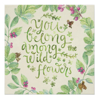 flower fairies wildflowers botanical quote poster