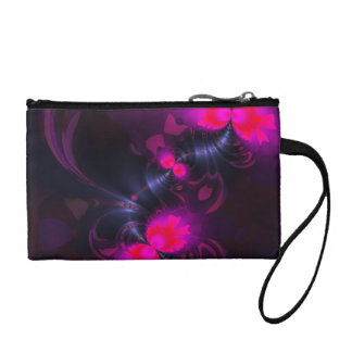 Flower Fairy, Abstract Rose and Magenta Ribbons Coin Purse