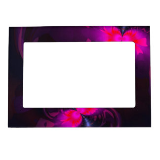 Flower Fairy, Abstract Rose and Magenta Ribbons Magnetic Photo Frame