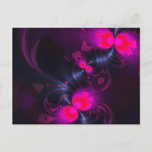 Flower Fairy, Abstract Rose and Magenta Ribbons Postcard