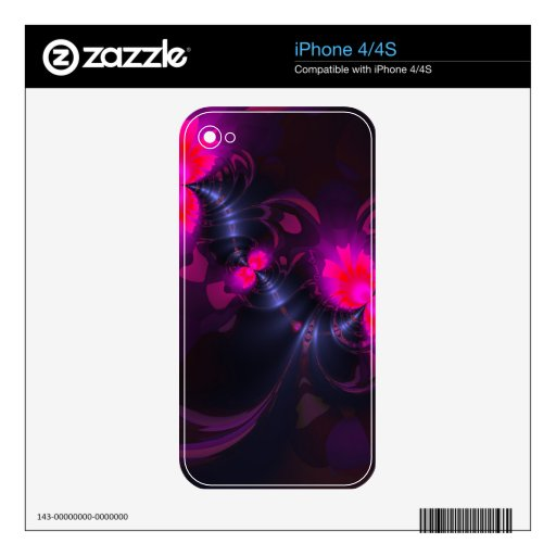 Flower Fairy, Abstract Rose and Magenta Ribbons iPhone 4S Decal