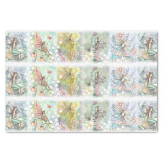 "Flower Fairy Art Whimsical Watercolor 10"" X 15"" Tissue Paper"
