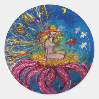FLOWER FAIRY IN THE NIGHT Blue Fantasy Classic Round Sticker