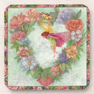 flower fairy & painted rose wreath drink coaster