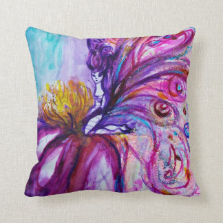 FLOWER FAIRY PURPLE PINK FLORAL Girl Baby Status Throw Pillow