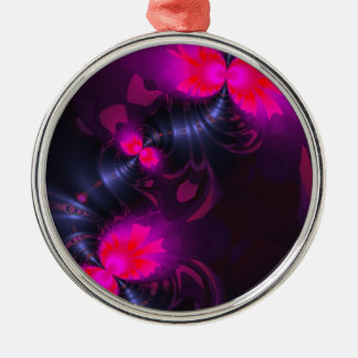 Flower Fairy – Rose and Magenta Ribbons Metal Ornament