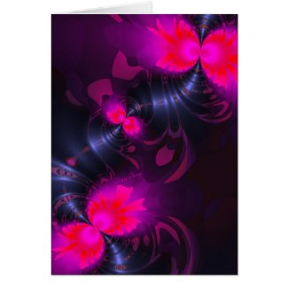 Flower Fairy – Rose and Magenta Ribbons Vertical Card