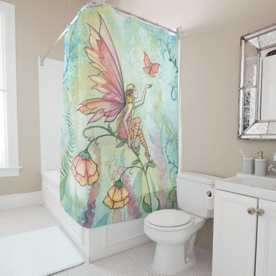 Flower Fairy Watercolor Illustration Light Airy Shower Curtain