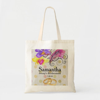 Flower & Feather Bridesmaid Custom Tote Bag