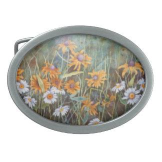 """""""Flower Field"""" Floral Belt Buckle"""