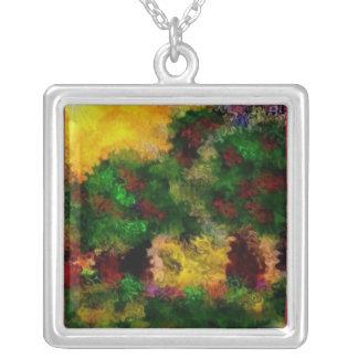 Flower field square pendant necklace
