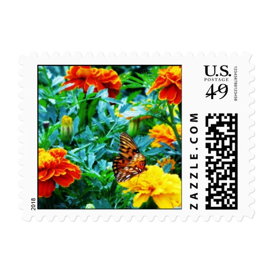 Flower Field with Butterfly Stamp