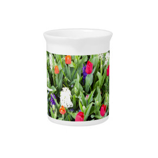 Flower field with various flowers drink pitcher