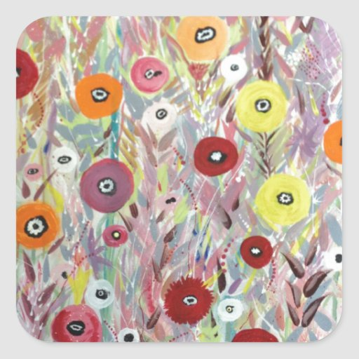 Flower Fields Art Square Sticker