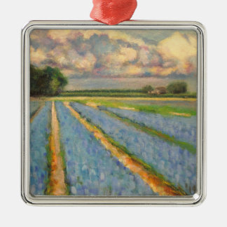 Flower Fields Landscape Triptych Painting 3 of 3 Metal Ornament