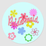 Flower Filled Bridesmaid Products Round Sticker