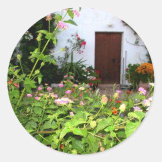Flower filled  garden in Chania Crete, Greece Classic Round Sticker
