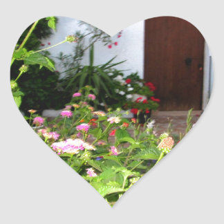 Flower filled  garden in Chania Crete, Greece Heart Sticker