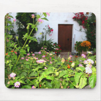 Flower filled  garden in Chania Crete, Greece Mousepad