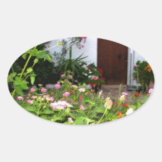 Flower filled  garden in Chania Crete, Greece Oval Sticker