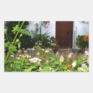 Flower filled  garden in Chania Crete, Greece Rectangular Sticker