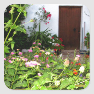 Flower filled  garden in Chania Crete, Greece Square Sticker