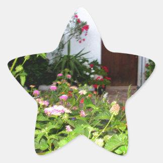 Flower filled  garden in Chania Crete, Greece Star Sticker