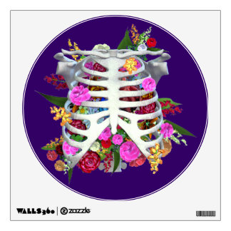 Flower Filled Upper Skeleton with Heart Wall Sticker