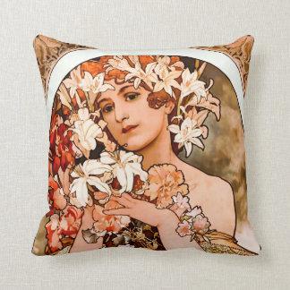 Flower, Fine Art Alphonse Mucha Throw Pillows