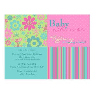 Flower Fizz Pink & Blue • Baby Shower Invitation Postcard