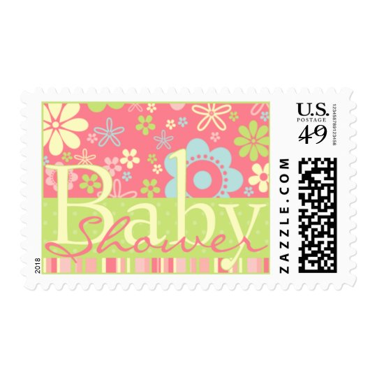 Flower Fizz Pink & Green • Baby Shower Invitation Postage