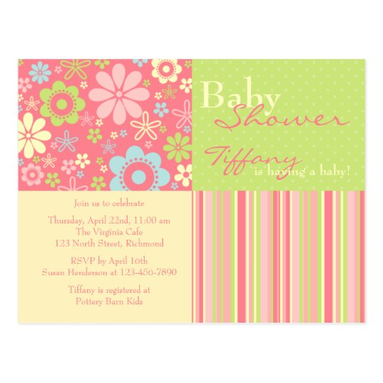 Flower Fizz Pink & Green • Baby Shower Invitation Postcard