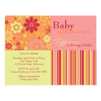 Flower Fizz Pink & Orange • Baby Shower Invitation Postcard