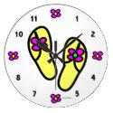 Flower Flip Flops Round Clock