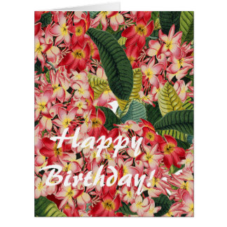 Flower Floral Botanical Plumeria Big Birthday Card