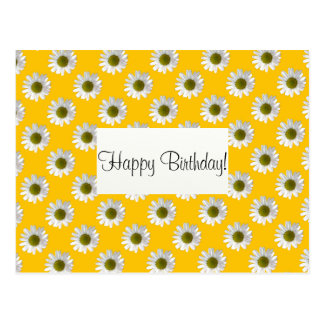 Flower floral design daisies on yellow postcard