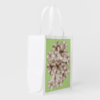 Flower Floral Drawing Coffee Brown Illustrated Reusable Grocery Bag