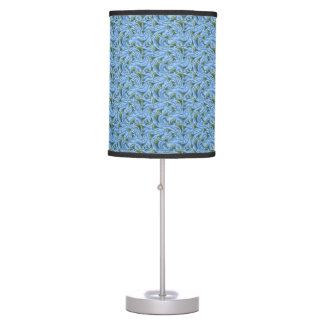 FLOWER FLORAL FUNNEL BLUE GREEN SWIRL Table Lamp